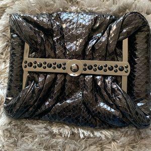Rafe Black Leather Snakeskin Clutch